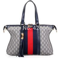 Guaranteed pu  Handbags 2014 New pu + canvas Women Handbags Big Package Inclined Shoulder Bag+Free Shipping