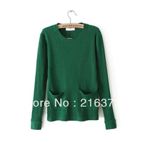 2014 Korean version of the literary norm double pocket solid color pullover sweater bottoming women's for female fashion NJS036