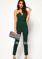 European and American fashion new v-neck women's tight pants jumpsuits that wipe a bosom