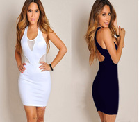 New Sexy gauze cutout racerback hip slim one-piece dress  women dresses free shipping