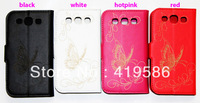 4 Colors Butterfly Wallet Leather Case Card Cash Slot Stand Holder Cover for Samsung Galaxy Win I8552