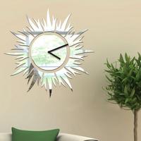 Mirror Clock Wall Home Decoration Modern Art Design DIY 3D Silver Sun Flowers Digital Clock wall Stickers XR-137