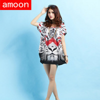 Amoon / Women New Spring Summer Casual Ice Cotton Rhinestone Print Tiger Dress 113/Free Shipping /Plus Size /2 Colors