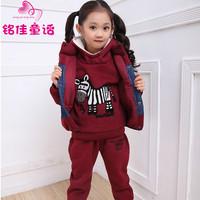 Children's clothing female winter child 2013 thickening sweatshirt piece set casual child set children size