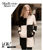 Value 22 2013 o-neck popper color block decoration straight check wool coat paragraph