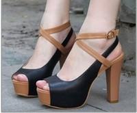 Sandals2014 open toe shoe high-heeled shoes thick heel sandals cross-strap women's shose summer shoes fashion