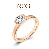 New 2014 round wedding rose gold ring for women fashion jewelry crystal finger Crystal rings for party,anniversary lighter ring