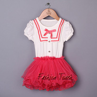 2014 New Toddle Girls Dress White And Red Navy Style Tutu Dress With Four Bags Chiffon And Cotton Dress Infant Party Dresses