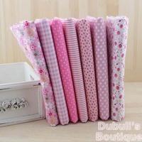 Pink 7 Assorted Pre-Cut Charm Cotton Quilt Fabric Fat Quarter Tissue Bundle, Best Match Floral Stripe Dot Grid Print 50x50cm