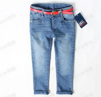 High quality 1pcs spring autumn style cashmere kids pants Boys children jeans baby jeans with red belt 2-7y
