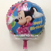"Factory Direct sales !!! 50pcs/lots  wholesales 18 inch round shape ""Happy birthday "" Minnie foil balloons ,cartoon balloon"