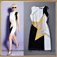 Fashion elastic slim fashion geometry color block vest one-piece dress elegant small skirt step