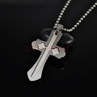 Silver Tone Stainless Steel Silver Tone Budded Cross Pendant Necklace W/ free Chain 50cm