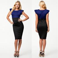 2014 Women Dresses New Fashion Elegant Blue and Black Patchwork Dress Knee Length Bodycon Bandage Dress New Dresses 9075