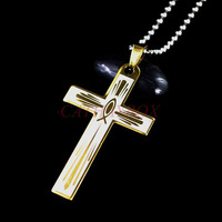 Stainless Steel Golden Tone Jesus Fish Cross Charm Pendant Necklace W/ free Chain 50cm