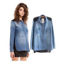 Fashion 2014 Cotton Women's Denim Blouses Shirts/Tops Long-sleeve 2 Pockets Plus Size Chiffon Patchwork Blouse Shirt 2colors