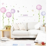 FreeShipping  Purple Flower Ball Style PVC Wall Sticker  Wall Decoration 50*70cm