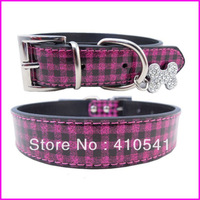 2014 New Arrival Free Shipping Mix Colors PU Leather Rhinestones Puppy Pet Dog Collar Fashion Dog Collar Bone Pendant