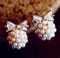 zircon fresh water pearl bowknot jewelry fashion girl alloy 18k plated women stud Earrings free shipping B10202