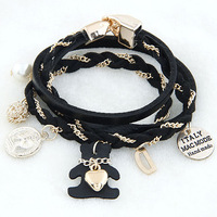 2014 New Designer Men Jewelry Layered Handmade Chains Leather Strap bracelets & bangles Bear D Pearl Charms Bracelet for Women