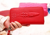 New 2014 Fashion Genuine Leather Wallets Crocodile Embossed Women Wallets Clutch Ladies Purse Carteira Feminina Dropshipping