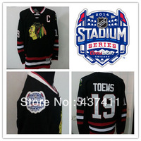 2014 Stadium Series Chicago Blackhawks Ice Hockey Jerseys #19 Jonathan Toews Black Jersey Free shipping New Arrival !!!