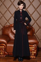 High-end warm han edition dress cloth coat hitting scene of spring 2014 super long extension with thick woolen cloth coat