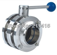 "Sanitary 3-PCS Flange Butterfly Valve Stainless Steel Butterfly Valve.SS304 SIZE:1""inch/DN25 .Connector Three pieces"