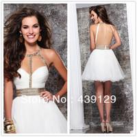 Halter Gold Beaded and Crystals White Organza Mini Length Cocktail Dresses Tarik Ediz Party Dresses