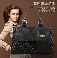 Free Shipping New Fashion black quilted bag leather shoulder bag women messenger bags 2014 KL-023
