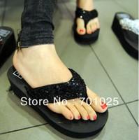 2014 summer paillette female slippers flip flops platform wedges platform beach flip female slippers