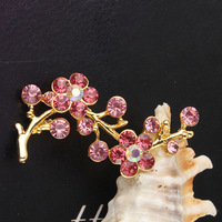 Free Shipping New Fashion Women's 18k Yellow Gold Filled 5 Colors Austrian Crystal Flower Plum Blossom Brooch Pin Gift Jewelry