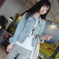 Spring and autumn  denim outerwear female short design motorcycle jacket long-sleeve denim top light color short jacket