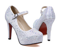 in stock! 2014 new fashion rhinestone high-heeled wedding shoes woman crystal banquet shoes bridal shoes, height: 11CM