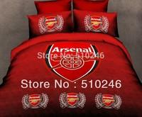 free shipping drop shipping cotton children boy Arsenal red football printed 3pcs flat sheet set duvet cover bedding set