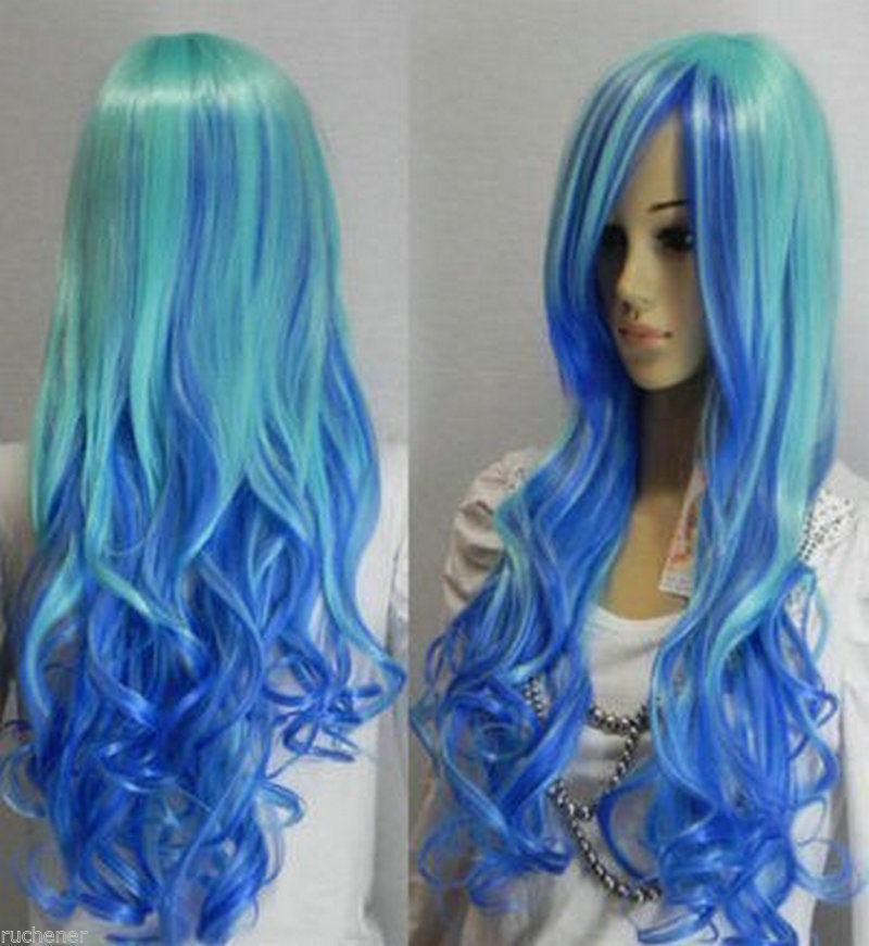 FREE SHIP>>> Cosplay long blue mixed curly Hair women human manufacturing wig AAA(China (Mainland))