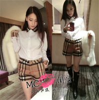 2436 top women's small lapel patchwork white shirt plaid shorts set casual