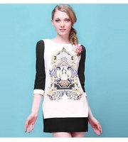 2014 new spring women dress three quarter sleeve O neck splice printed dress European style vintage dress female clothing