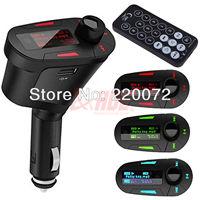 Free Shipping Car Mp3 FM Modulator Car Kit MP3 Player Wireless FM Transmitter Modulator USB SD MMC LCD with Remote