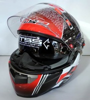 Glazed steel ls2ff396-10 double lens wear-resistant quality helmet flash black red