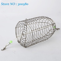 Stainless steel Bait thrower fishing lure cage large bait cage Nest fly cage fight Metal feed compouna cage 13.5cm*8cm 43g