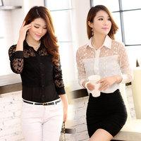 2014 spring women's plus size turn-down collar long-sleeve shirt lace gauze thin shirt  women blouse shirt