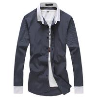 Long-sleeve shirt Square collar Plaid shirt Slim Fashion Brand Outdoor Sports Casual men Drop-shipping