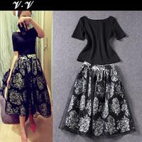 2014 spring ladies elegant women's black slim top print organza medium-long puff skirt set