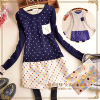 G 2014 sweet long-sleeve women's o-neck patchwork small pocket print mid waist one-piece dress
