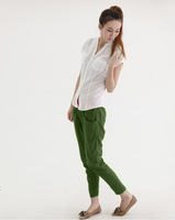 2014 Trend Style Spring/Summer Linen Pants Women Elastic Waist Casual Pants Fluid Straight Loose Pencil Pants / Trousers feet