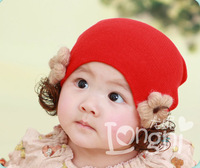 Skullies & Beanies Children's knitted cap baby turtleneck cap Korea sunflower flowers wig cap by hand
