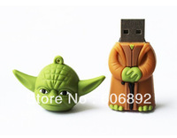 Retail genuine 2G/4G/8G/16G/32G star war Yoda style flash drive silicone usb flash drive 5pcs/lot