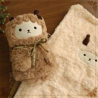 Super soft 1pc 90*70cm plush folar fleece little folded baby sleeping blanket cartoon warm sheep high quality infant gift toy