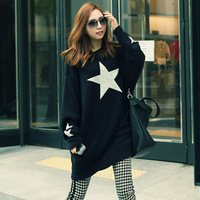Spring five-pointed star print loose knitted batwing shirt plus size clothing maternity clothing